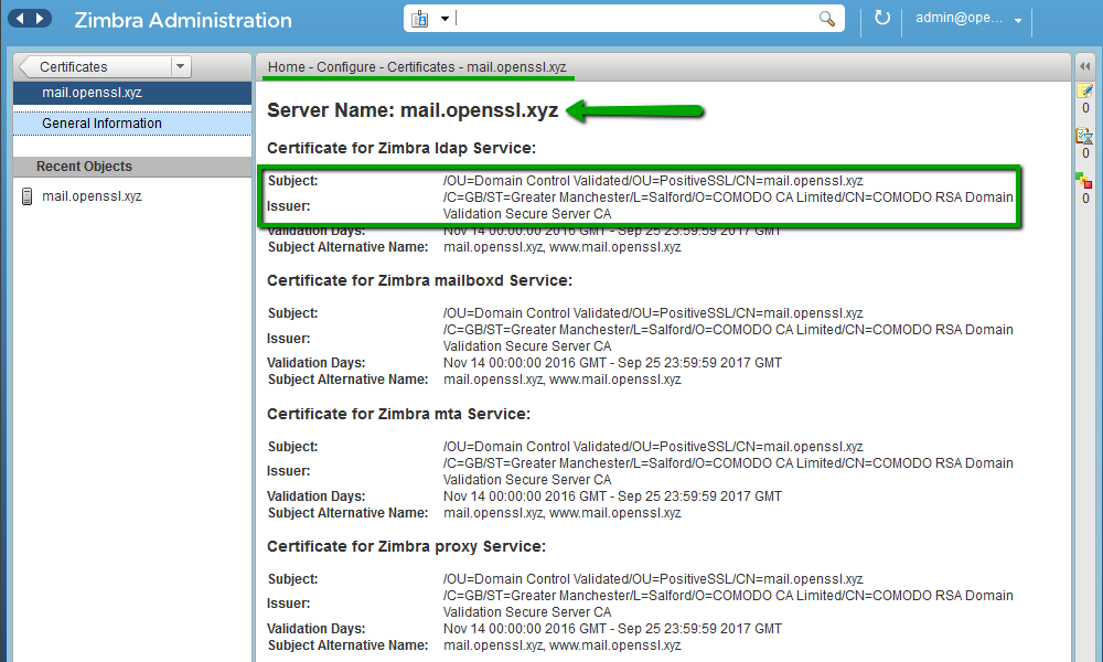 How to install an SSL certificate on Zimbra – HelpDesk | SSLs com