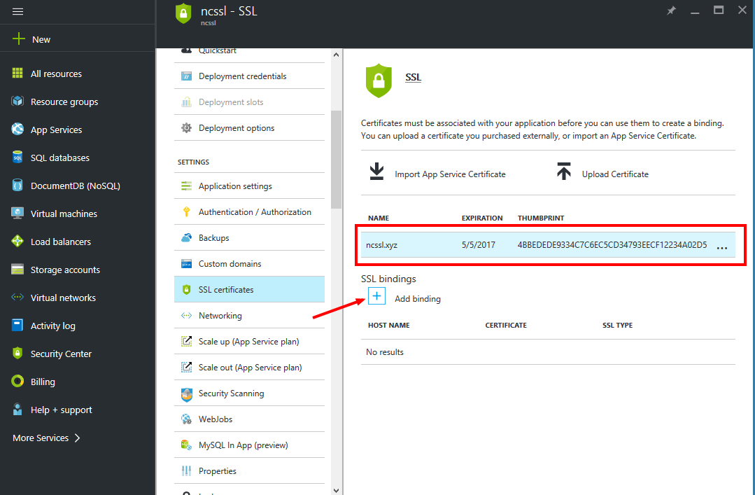 How to install an SSL on Microsoft Azure Web App – HelpDesk