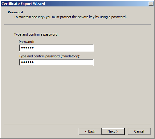How to export SSL certificate from one IIS 7 server to