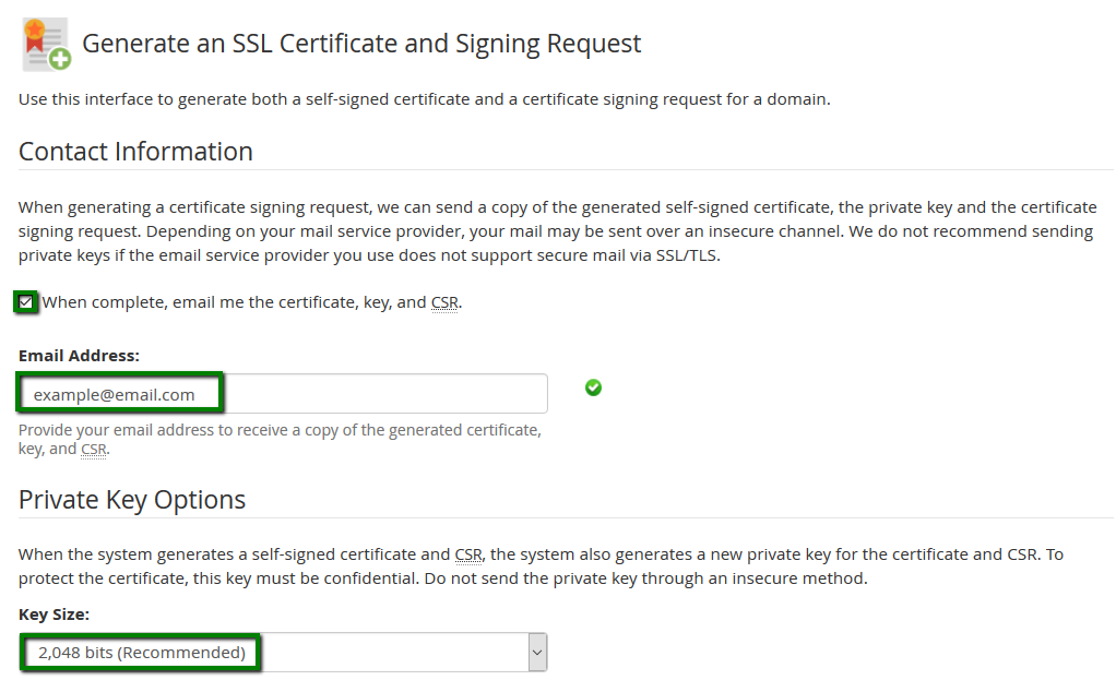 How to generate a CSR code in WHM – HelpDesk | SSLs com