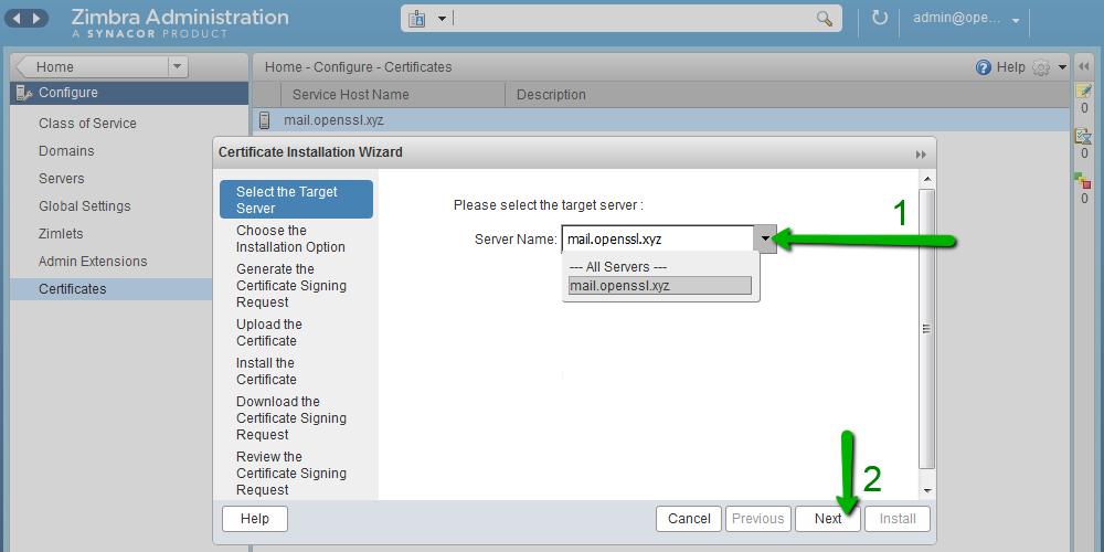 How to install an SSL certificate on Zimbra – HelpDesk