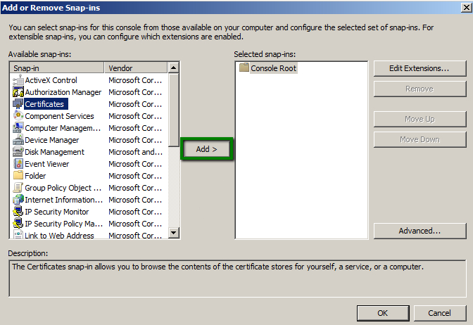 How to import intermediate and root certificates via MMC